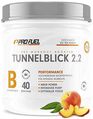 TUNNELBLICK 2.2 | Power • Fokus • Pump | Pre Workout Booster | DAS ORIGINAL von ProFuel  | Pump Booster mit Guarana, Beta-Alanin & Tyrosin | 360g - 40 Portionen | ICE TEA PEACH...