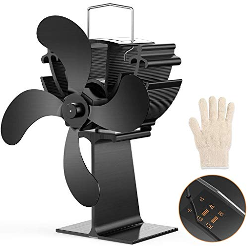 JUNESUN 4 Blade Heat Powered Stove Fireplace Fan with Thermometer Gauge Gloves Silent Ecofan for Wood Log Burner Heater