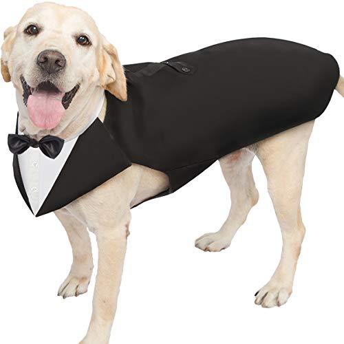 Smoking für Hunde, für große und mittelgroße Hunde, verstellbar, mit abnehmbarer Fliege, Hemdkragen und Bandana