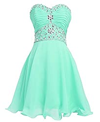 Mint Short Sweetheart Rhinestones Strapless Chiffon Dress