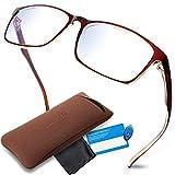 LAMIO ブルーライトカット メガネ PCメガネ パソコン用メガネ JIS検査済 ブルーライト 35%以上カット サングラス ファッションメガネ 伊達メガネ メンズ レディース 度なし (ブラウン)