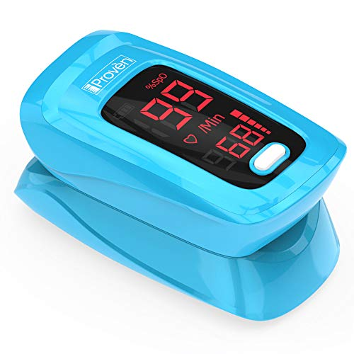 iProven Pulse Oximeter Fingertip - Blood Oxygen Saturation Monitor - with Case, Batteries and Lanyard - OXI-27