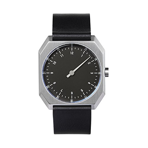 slow AM/PM Edition 02 - Swiss Made one-Hand 24 Hour Watch, Silver/Black