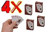 jameitop®♣♠♥♦ Mini Kartenspiel 4er Set kleine Spielkarten für Reise / Urlaub Karten Spiel winzig 54 x 36 mm ♣♠♥♦