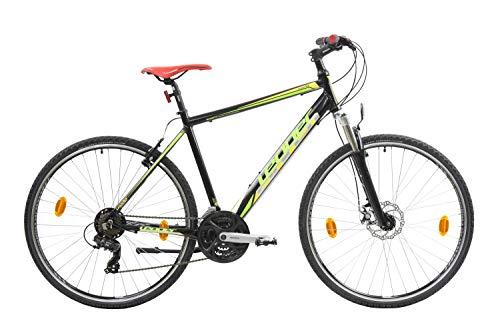Leader SUBS 1.0 Bici Trekking, Men's, Negra-Verde, 28''