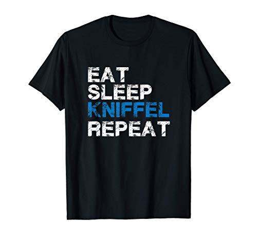 Herren Essen Schlafen Kniffel Nochmal - Lustiges Kniffel Würfel T-Shirt