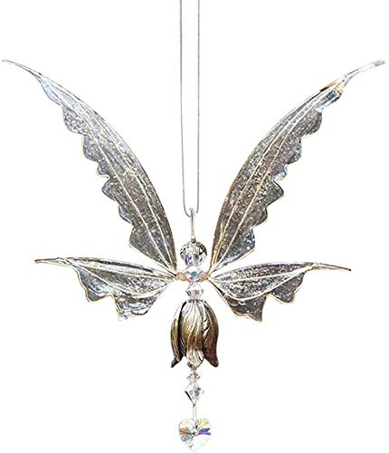 HHYSPA Butterfly Ornaments, Fairy Hanging Crystal Suncatcher with Wings Hanging Pendant for Home Decoration, Hanging Crystal Suncatcher Outdoor Indoor Sun Catchers Pendant (White)