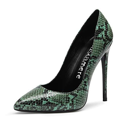 CASTAMERE Mujer Zapatos de Tacón Zapatos Mujer Tacon Fiesta Sexy Clásico Stilettos High Heels Forro Negro Zapatos Tacones Altos 12cm Serpiente Verde Zapatos EU 39