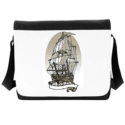 Classic Ship with Sails (Space for Custom Text) Tattoo Style Vintage Poster Design [200B] Shoulder Bag - Large