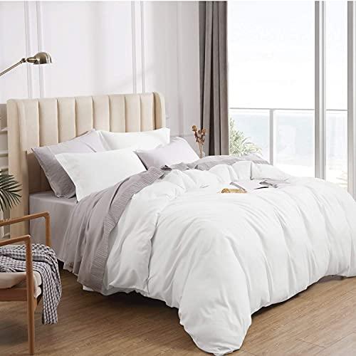 Bedsure Duvet Cover Queen Size White - Queen Duvet Cover Comforter Cover Bedding Set with Zipper Closure 3 Pieces (1 Duvet Cover + 2 Pillow Shams, 90x90 Inch)