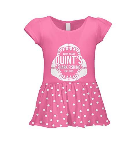 Quint's Shark Fishing - Amity Island Infant/Toddler Baby Rib Dress (Pink Polka Dot, 6 Months)