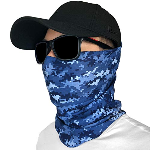 GOT Sports Fishing Mask Camo Headwear - Works as Fishing Sun Mask, Neck Gaiter, Headband, Bandana, Balaclava - Multifunctional Breathable Seamless Microfiber (Digi Navy)