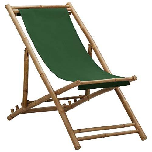 vidaXL Liegestuhl Klappbar Strandliege Sonnenliege Gartenliege Klappstuhl Campingstuhl Faltliege Liege Strandstuhl Bambus Segeltuch Grün