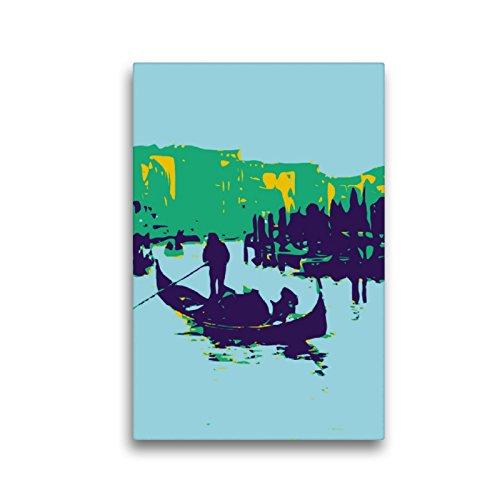 CALVENDO Premium Textil-Leinwand 30 x 45 cm Hoch-Format Gondoliere am Canale Grande, Leinwanddruck von FOSO