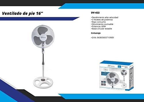 DVTECH Siempre Ventilador de Pie 16 Pulgadas y Altura Regulable, 60W con 3 Niveles de Potencia y Movimiento Oscilante, Motor Silencioso