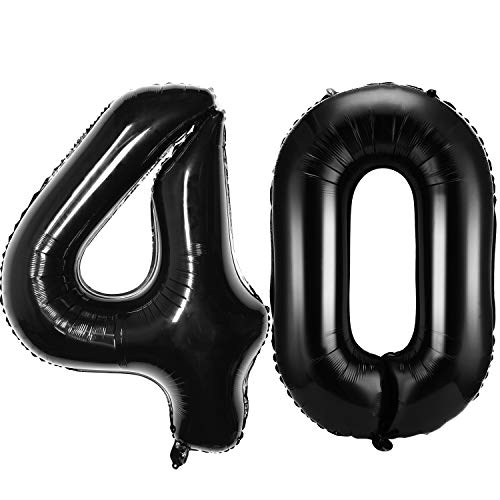 42 Pulgadas de 40 Globos de Números Jumbo 40 Globos de Papel de Aluminio Globos de 40 Números Negros Gigantes para Decoraciones de Fiesta de 40 Cumpleaños y Evento de 40 Aniversario