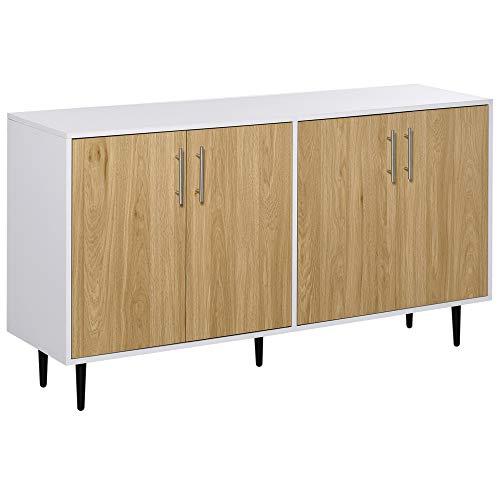 Buffet meuble de rangement 2 placards 2 portes avec étagères réglables blanc chêne clair