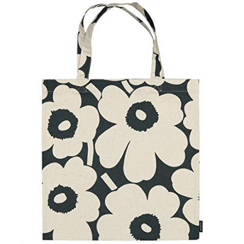 Marimekko - Tasche, Einkaufstasche - Pieni Unikko - Baumwolle - Dunkelgrün-Off-White - 44 x 43 cm