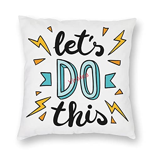 VinMea Decorative Pillow Covers Let Is Do This Cushion Covers for Sofa Bedroom Home Office Decor 16x16 Inch