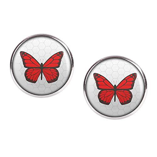 Mylery Ohrstecker Paar mit Motiv Schmetterling Rot silber 16mm
