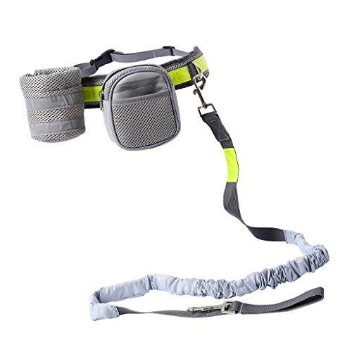 Joggingleine Hundeleine mit Bauchgurt und abnehmbar Tasche zum Joggen, Spazieren, Gassi, Radfahren