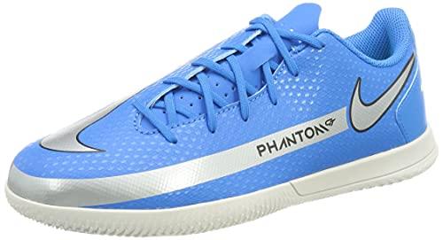 Nike Jr. Phantom GT Club IC Football Shoe, Photo Blue/Metallic Silver-Rage Green-Black, 38.5 EU