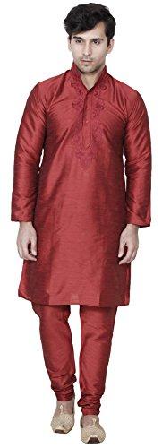 Men s Art Silk Kurta Pajama Set Wedding Wear Indian Clothing (Maroon  S)