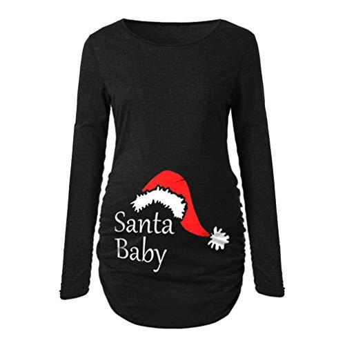 WEIMEITE Camisa de Maternidad Camiseta de Manga Larga Camiseta básica básica para Mujer de Ruch Sides Bodycon para Mujeres Embarazadas Negro M