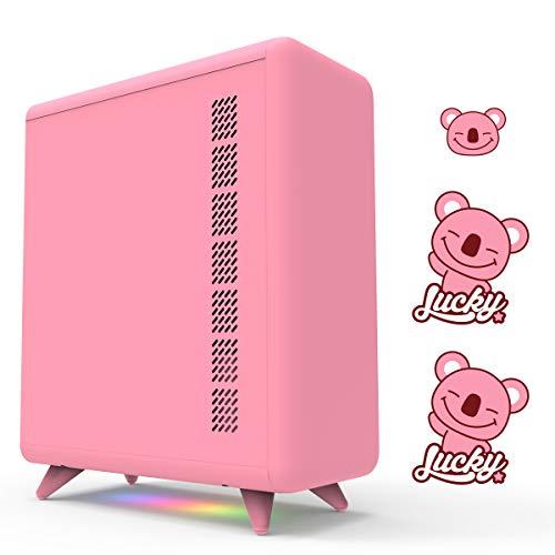 GOLDEN FIELD Caja de ordenador rosa de la serie Q con 3 pegatinas de bricolaje, tiras de luz de 5 V, caja de ordenador para niñas, hogar y oficina