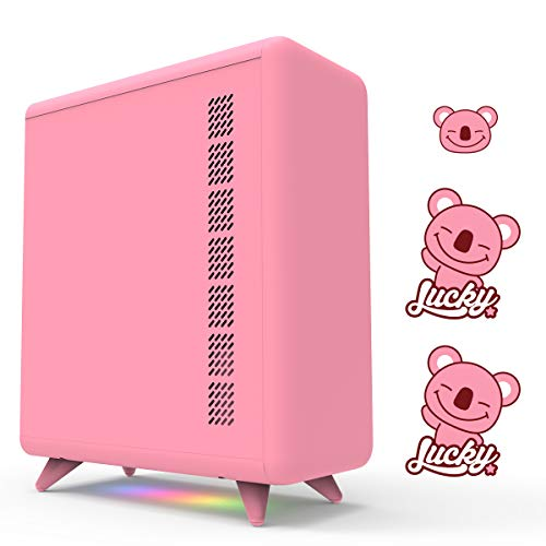GOLDEN FIELD Q Series Pink PC Case, with 3 DIY Stickers, M/B Control Light...