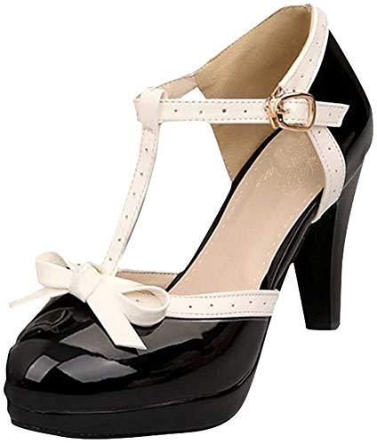 Damen T Steg Pumps High Heels Plateau mit Blockabsatz Rockabilly Lolita Cosplay 8cm Absatz Schuhe (40,Schwarz)
