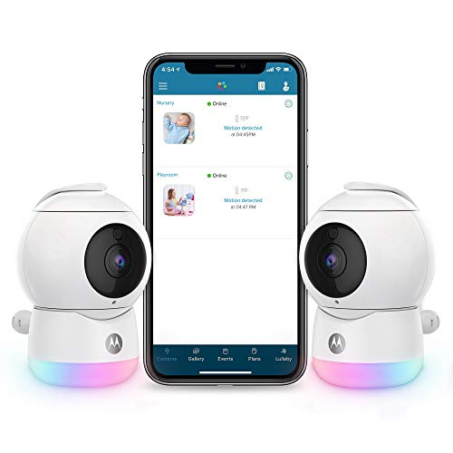 Motorola Peekaboo Twin Cameras WiFi 1080p Video Baby Monitor - Multi-Color Night Light, Two-Way Audio, Infrared Night Vision – 360 Degree Remote Pan Scan and Digital Zoom/Tilt, Soothing Sounds