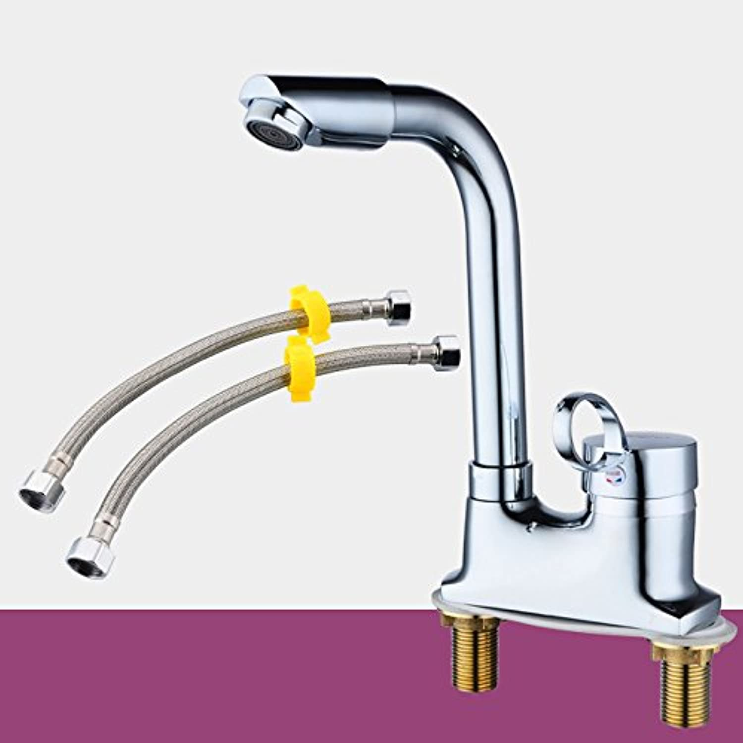 Hlluya Professional Sink Mixer Tap Kitchen Faucet Hot and cold two holes can redate the faucet, B