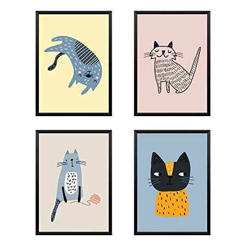 Lot de 4 affiches pour la chambre des enfants, tirages d'art chien chat unisexe peinture A4 21x29.7cm, sans cadre
