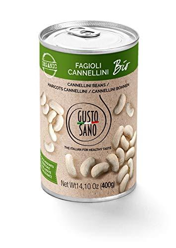 GUSTO SANO FAGIOLI IN SCATOLA CANNELLINI BIOLOGICI.Senza Sale Aggiunto - Fagioli in scatola reidratati e lessati – NON OGM – Comoda scorta da 6 confezioni x 400 gr.