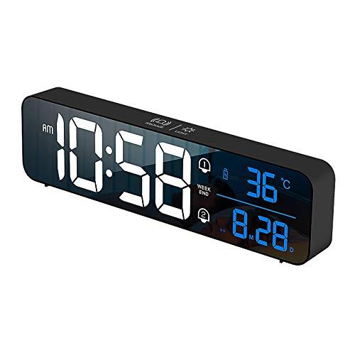 AMTN LED Carga música Reloj Despertador Touch Snooze Reloj Digital Calendario perpetuo Creativo Reloj electrónico Negro