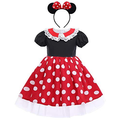 Baby Kleinkind Mädchen Polka Dots Geburtstag Prinzessin Schleife Tutu Kleid Cosplay Festzug Karneval Kostüm Party Outfits + Stirnband Gr. 3-4 Jahre, # C Rot