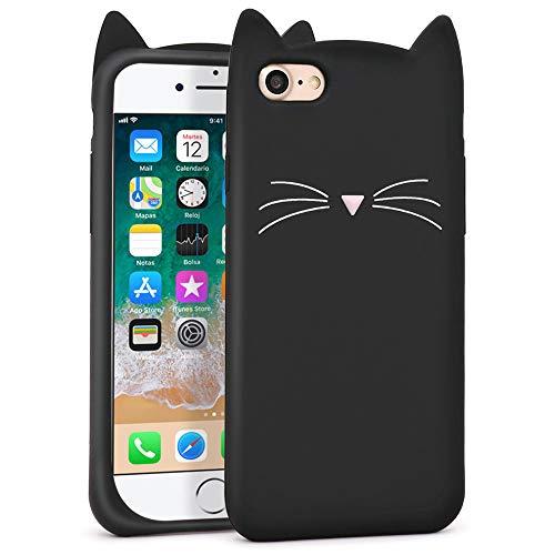 LKKJ Bonita funda para iPhone SE 2020, iPhone 7, iPhone 8, Black Whisker Cat Ears Kitty, divertido diseño de dibujos animados en 3D, suave silicona a prueba de golpes, para niñas, niños y mujeres
