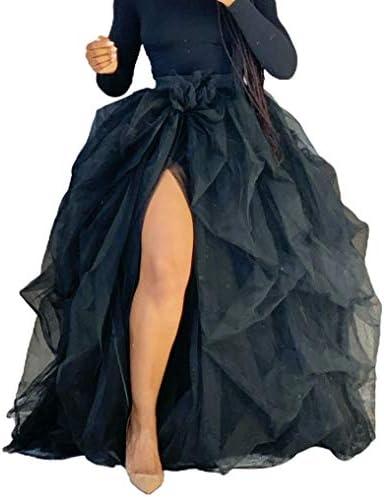 Women Hi Slit Tutu Maxi Dress Tulle Ruffle Mesh Lace Long Skirt Floor Length Layered Evening product image