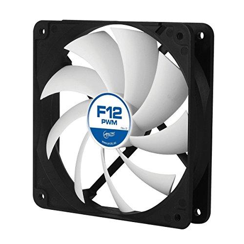 ARCTIC F12 PWM - 120 mm PWM Case Fan, PWM-Signal regulates Fan Speed, Very quiet motor, Computer, Fan Speed: 230–1350 RPM - Black/White