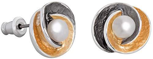 Perlkönig | Damen Frauen | Ohrringe Set | Ear Cuffs | Blüte mit Perle in Gold Schwarz | Bicolor | Matt Glänzend | Nickelabgabefrei