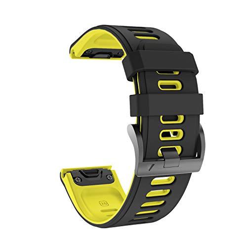NotoCity Armband für Garmin Fenix 6s/Fenix 6s Pro/Fenix 5s, 20mm Breite Silikon Estrazarmband Quick-Fit Uhrenarmband für Garmin, Mehrfache Farben,(Gelb-Schwarz)