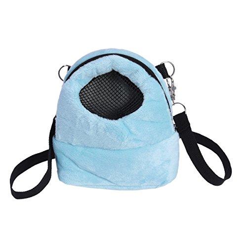 Bolsa de transporte para mascotas Hamster portátil transpirable bolsa de salida para mascotas pequeñas tamaño S (azul)