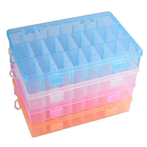 25 # Einstellbare 24-Fach-Kunststoff-Aufbewahrungsbox Schmuckohrringetui Jewely Bead Case Cover Box...