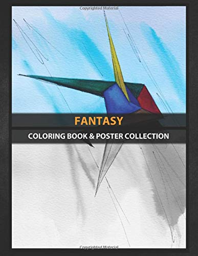 Coloring Book & Poster Collection: Fantasy Watercolor Illustration Of A Colored Tsuru Bird Origami Fantasy