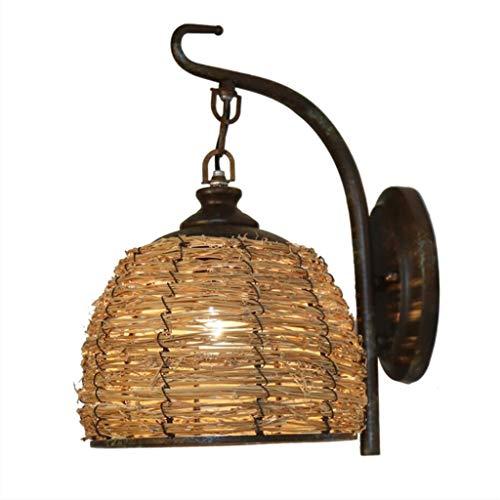 WJLL E27 lámpara de Pared Antigua Linterna de ratán Pantalla de Mimbre Apliques de Pared Antigua Hecha de Hierro Forjado lámpara de Noche Luz de Pared para Pasillo de Sala de Estar Interior