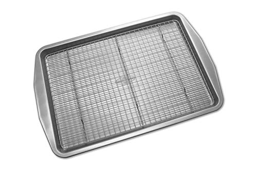 USA Pan American Bakeware Classics Half Sheet Baking Pan and Cooling Rack, Aluminized Steel