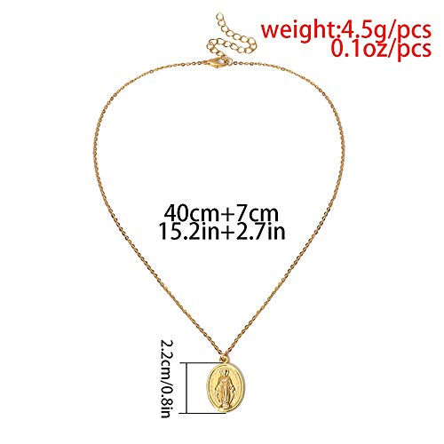 WJP Oro, Plata, Collar de Monedas del Día de la Asunción, Medalla Cristiana Religiosa Virgen María.Collar Católico Nuestra Señora de la Asunción.(40 cm 7 cm de tamaño Ajustable) GKK (Color : Silver)