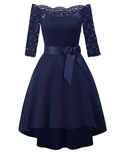LA ORCHID Laorchid Vintage Damen Kleid Spitzenkleid Off Schulter Cocktail Knielang A-Linie, L, Navy