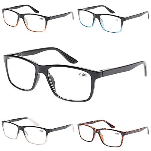 Gafas de Lectura, 5Pollas de la Moda de Las Gafas de Lectura clásicas, Gafas rectangulares for bisagra de Primavera, lectores Gafas for Hombres Mujeres, usadas for computadora, Lectura, Trabajo